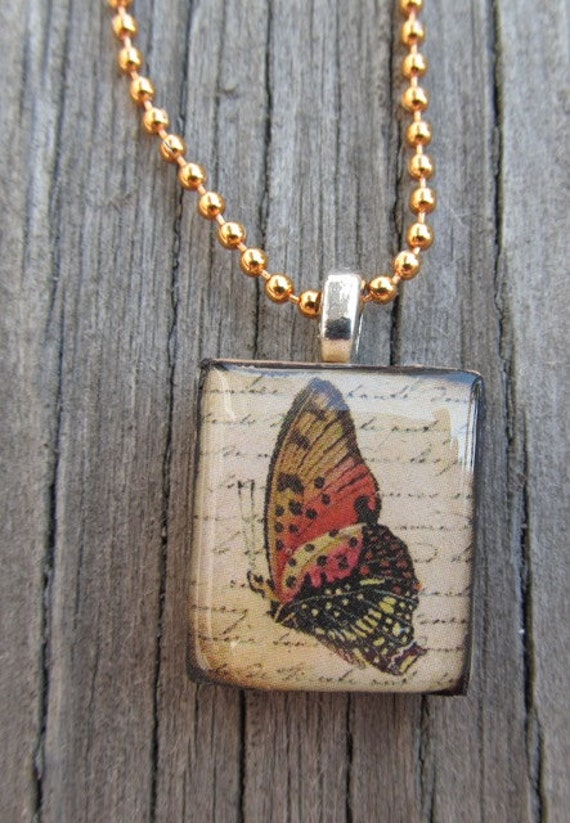 Burnt orange butterfly Scrabble tile necklace under 10 for her gift ideas repurposed fall colors womens fashion