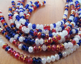 Patriotic crystal beads red white blue faceted rondelle chinese crystals//old glory beads//beading friends//unique bead gifts