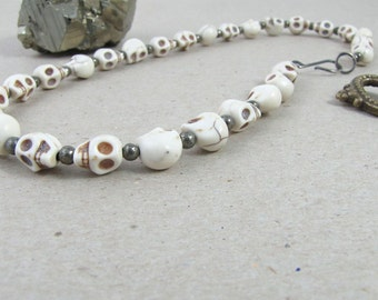 SKULL & Pyrite NECKLACE - Carved Stone Beads with Fools Gold / Pyrite  - Skeleton Head