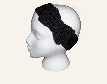 Crochet Bow Headband Ear Warmer Knit Headband Bow Ear Warmer Womens Retro Bow Headband Cozy Crochet Ear Warmer Adult Bow Winter Headband