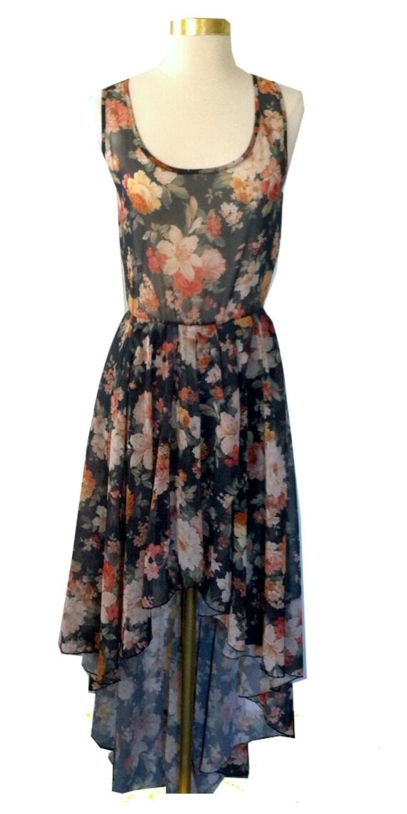 Pretty Floral High Low Dress