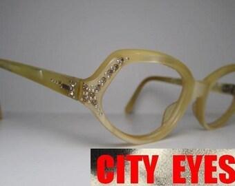 1950s (France) rhinestones pearl optical frames for Eyeglasses or Sunglasses by Swank