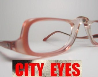 1980s Pink Clear optical frames for Eyeglasses or Sunglasses New Old Stock HAND MADE