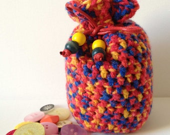 Crochet Dice Bag, Large Red Drawstring Bag, Red and Blue, Bright Knit Bag, Handmade Wool Bag, Primary Colours, Yarn Bag, Bag for Dice