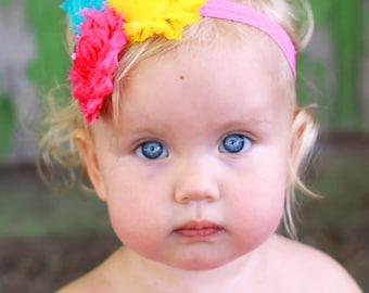 Shabby Chic Headband.Shabby Flower Headband.Shabby Headband.Baby Girl Headband.Baby Shabby chic Headband.Baby Headband.Hot Pink Headband