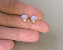 Gold Dipped Tiny Diamond Studs, Diamond jewelry, Diamond Shape Earrings, Translucent White, Geometric Earrings