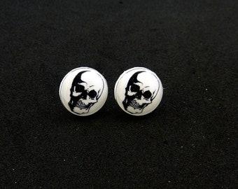 """Skull Earrings.  Resin Post Skull Earrings. 1/2"""" or 13 mm round."""