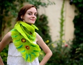 Felted Scarf, Spring Green Scarf, Merino wool, Ready to ship