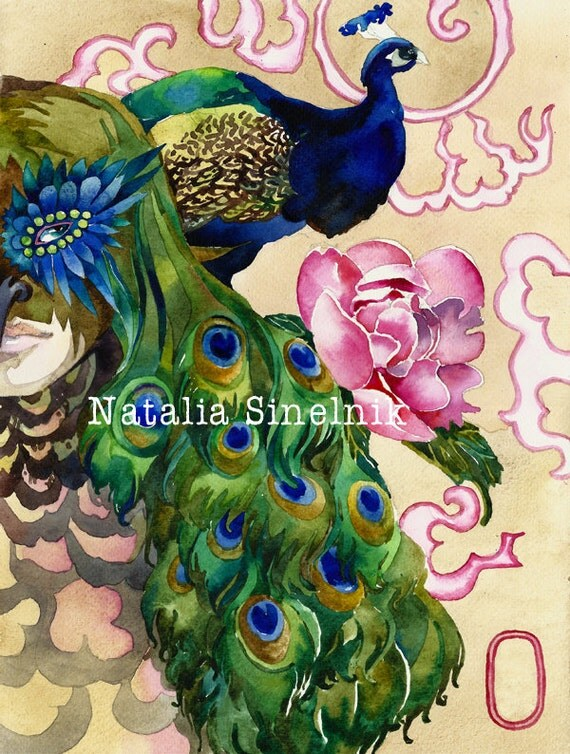 King of a peackock digital download from original watercolor asian style fantasy