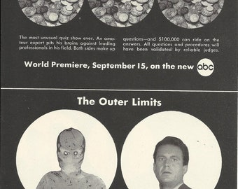 ABC Fall Schedule Original 1963 Vintage Print Ad Black & White TV Premiere Outer Limits Jack Palance Jerry Lewis  Kurt Russell Chuck Connors