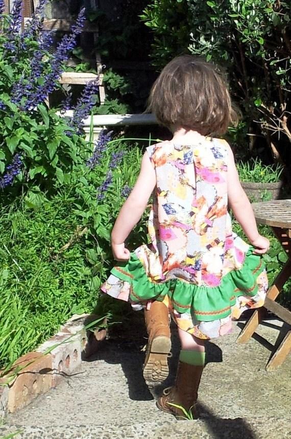 Girls dress handmade party dress Japan print little girls ruffle dress