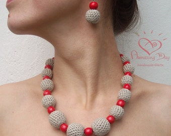Chunky Red & Grey NECKLACE. Crocheted LINEN necklace. Mother's Day gift. Christmas gift. Linen beads.  Red Wooden Crochet bead ball Necklace