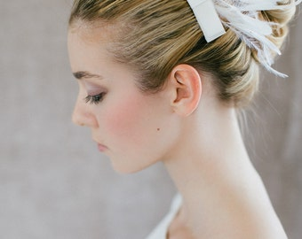 "Wedding Hair Accessory , Bridal Feather Piece - ""Lulu"""
