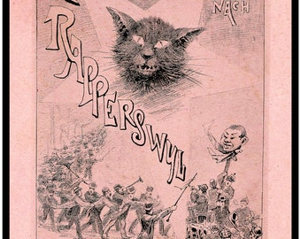 Antique German Print - Wild Beer Fest Street Parade - Katerbummel Rapperswyl - Crazy Black Cat Parade - Oktoberfest - Mummers