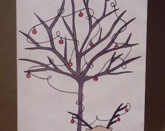 Owl and tree Christmas Card