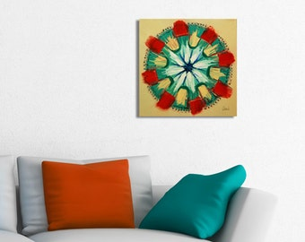 Mandala Painting on Canvas, Original Mandala Painting, Mandala Art, Meditation Art, red, green
