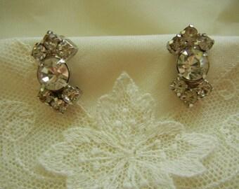 Vintage Rhinestone Old Hollywood Bow Shaped Earrings
