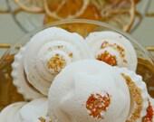 1 Citrus Bath Bomb: natural, homemade with orange, lemon, & grapefruit