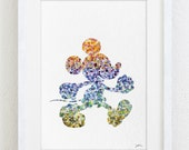 Mickey Mouse Watercolor Print - 5x7 Archival Fine Art Print - Gift, Wall Decor, Home Decor, Housewares