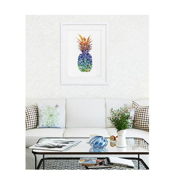 Pineapple - Extra Large Watercolor Art Print - Pineapple Poster, Silhouette Minimalist Art, 16 x 20 - Geometric Art - Kitchen Art Wall Decor