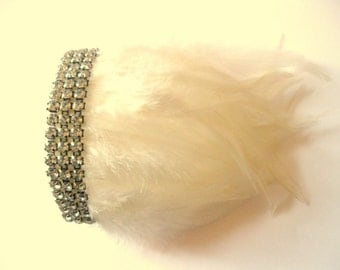 Feather shoulder rhinestone epaulettes Ivory White shoulder pads PAIR any color available.