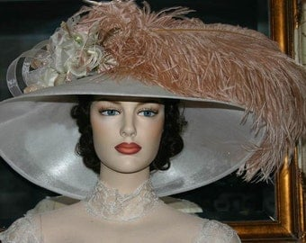 Kentucky Derby Hat Downton Abbey Ascot Hat Edwardian Titanic Tea Party Hat - Run for the Roses - Wide Brim Hat Womens