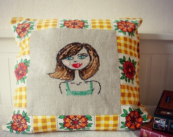 Free Shipping - Brunette - Cross Stitch Embroidered Pillow Cover
