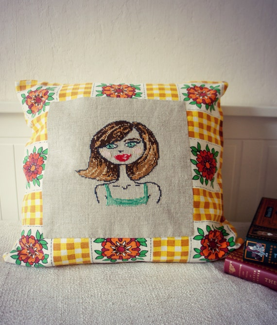 Brunette - Cross Stitch Embroidered Pillow Cover