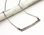 Personalized Modern Mother's Necklace Forged Silver Bar