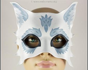 Silver Wolf handmade leather half mask Carnival masquerade wedding Halloween costume larp Mardi Gras theater