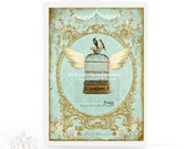 Vintage bird cage, card, flying bird cage, French card, Paris, cage with wings, birds, ornate gold frame, vintage style, blank card
