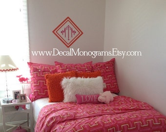 double diamond vinyl monogrammed wall decal