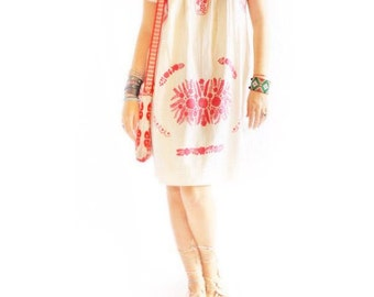 Pink Floral Mexican embroidered dress puff sleeve