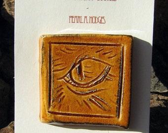 Small Handmade Ceramic Tile - Orange Cat Eye