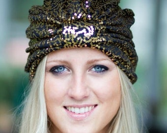Sequin Turban in Gold and Black - Full Fashion Turban in 12 Colors - by Mademoiselle Mermaid