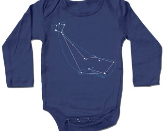 Blue Whale Baby Bodysuit, Baby Clothes, Cetus Constellation Space Baby Onesie, ocean star, baby boy gift, baby girl gift, baby shower gift