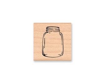 MASON JAR-SMALL  -  wood mounted rubber stamp(17-23)