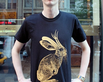 Jackalope tshirt - eco friendly gold ink screenprint on black cotton crew neck - Adult Unisex sizes M, L, XL