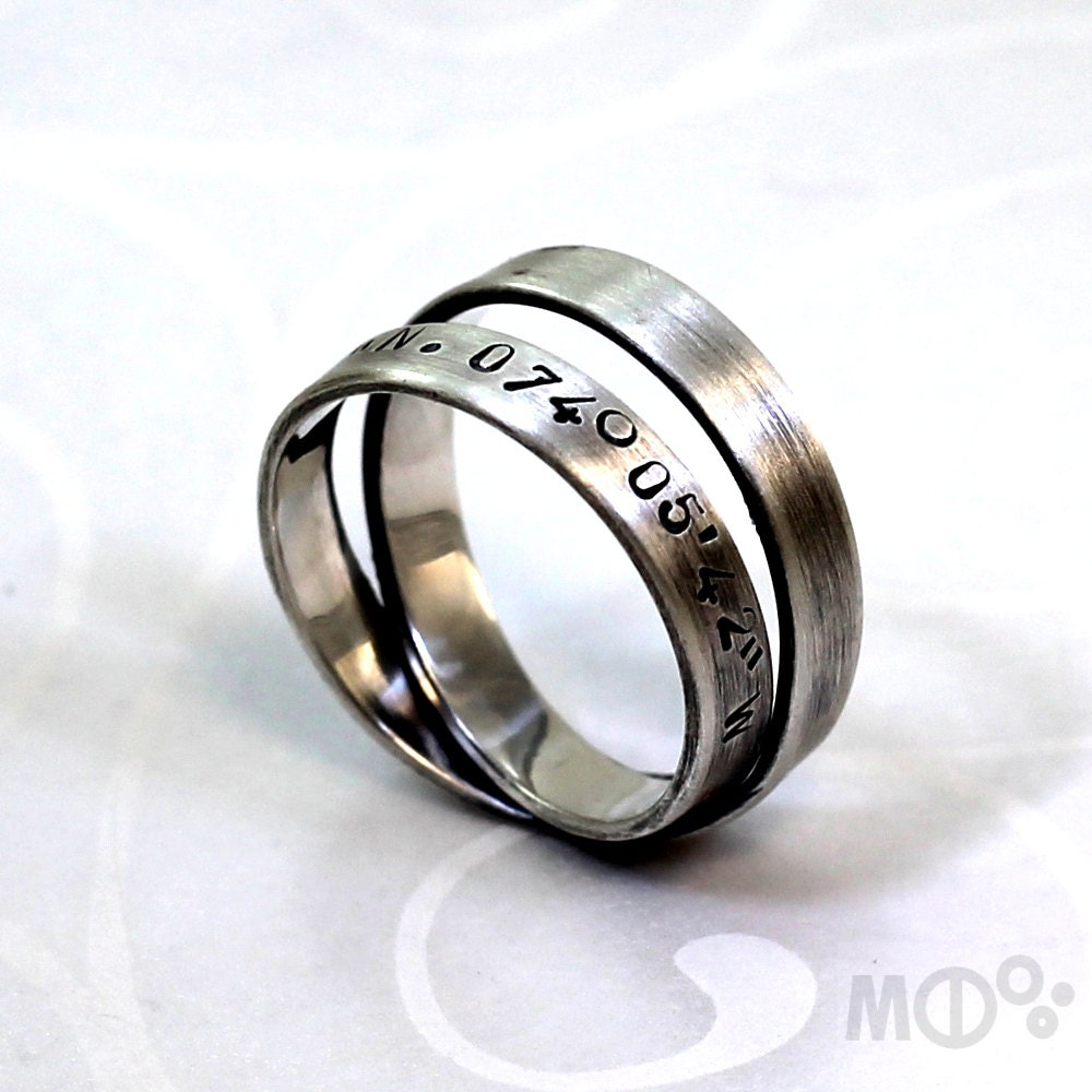 simple loop 4mm ring with longitude and latitude engraved