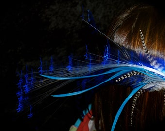 LIGHT UP Turquoise Blue Feather Hair Clip - with Blue GLOWBY Fiberoptic Clip - Glowing Hair Clip, Glow in the Dark, Burning Man, Festival