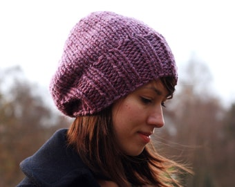 Slouchy Knit Beanie Womens Hat Chunky Knit Hat Winter Accessories Plum