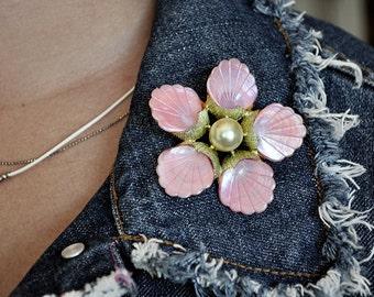 Vintage Pink Shell Brooch