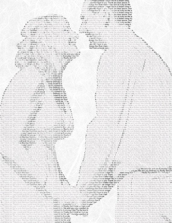 Wedding Vows Song Lyric Custom Word Art Photo Gift on Handmade Paper 8.5x11