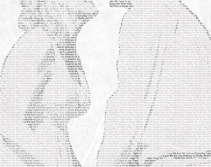 First Dance Lyrics First Dance Songs 1st Anniversary Wedding Vow Art Wedding Song Lyric Custom Word Art on Textured Art Paper 8.5x11