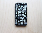 Case for iPhone 4 / iPhone 4S, Communication Pictographs, White on Black