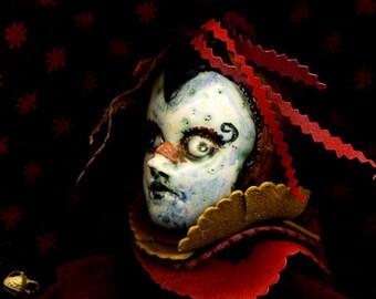 Renaissance Rooster LOVE ... ooak handmade kiln fired harLeQuin haNd PUPPET...ceramic mardi gras carnivale puppet