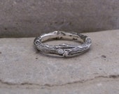 Reserved listing for Stackable twig ring ,Engagement or Wedding ring made to order in Sterling Silver with diamond