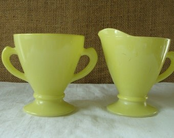 MID CENTURY Electric Lemon Yellow Anchor Hocking Glass Sugar Creamer Set - Mid Century Colored Glass