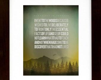 "Henry David Thoreau – I Went To The Woods...[No.2]  11w""X14h""  Print Hiking / Typographic / Nature / Digital Print"