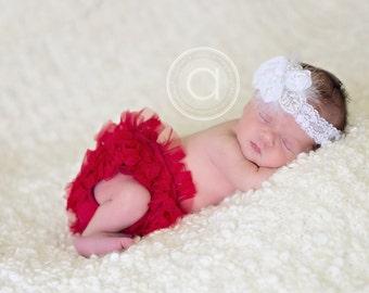 White chiffon flower headband,white headband, lace headband, baptism headband, christening headband,newborn headband, any size, photo prop